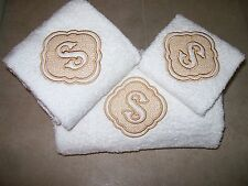 Embossed Monogram Bath Towel Set -Bath ,Hand  and Wash Cloth-Personalized