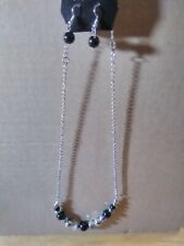 Paparazzi Sugar Beads, Black  Beads & Silver Necklace & Earring Set