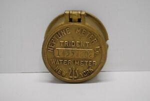 Vintage Brass Neptune Meter Co. Water Meter Cover Trident New York