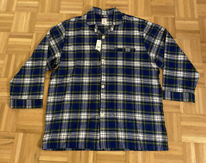 NWT Brooks Brothers Mens Plaid Check Pajama Top Button-Down Shirt Green/Blue XL