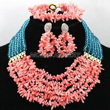 Pink Crystal Coral Child Jewelry Set African Costume  Pink Blue Beads Necklace