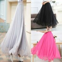 Solid high waist flared new long skirt pleated chiffon swing maxi dress women