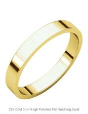 24K Solid Yellow Gold Classic Wedding Flat Band Ring, 3-4 Gms (Any Size)