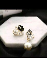 DROP Pearl Flower Stud Crystal EARRINGS Designer Style NO 5 LUXURY Asymmetrical