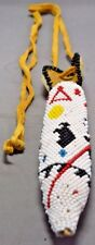 Native American Handmade Leather Neck Knife Sheath w/ Bead Work Asst Symbols