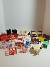Vintage Plastic Miniature Dollhouse Furniture By Renawal Products 39+ Piece RARE