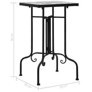 Mosaic Side Table Top Black/White Ceramic Outdoor Patio Furniture Weatherproof