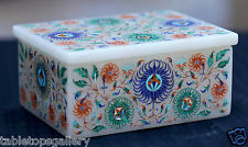 Marvelous White Marble Jewelry Box Micro Mosaic Inlay Marquetry Arts Gifts H1955