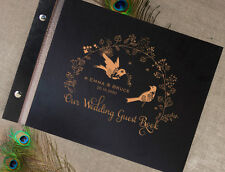 Large 50 Sheet Birds & Garland Wooden Wedding Rustic Guest book, Engraved Names