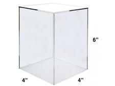 "4"" x 4"" x 6"" Jewelry Cube Riser Display Box / 5 Sided Clear Acrylic"