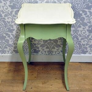 Acacia French Style Green Painted Solid Mahogany Wooden Side Table