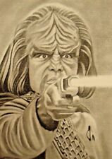 ORIGINAL ACEO sketch card STAR TREK Michael Dorn KLINGON WORF