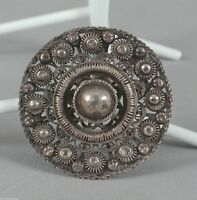 c1920-30 Chinese Silver Filigree Round Brooch or Pin