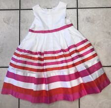 Carters Girls Size 5 White, Orange, and Pink Striped Dress