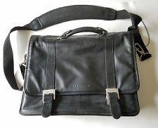 Kenneth Cole Reaction Leather Computer Messenger Bag Black Pre-Owned