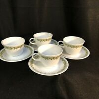 Vintage Pyrex Set of 4 White/Green Crazy Daisy Floral Cups and Saucers