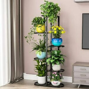 Display Stand,6 Tier 7 Potted, Stainless Steel, Rust-Resistant, Durable,Black