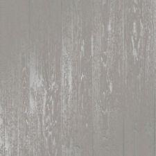 Grey Metallic Silver Wood Effect Wallpaper Wooden Grain Loft Distressed Wood