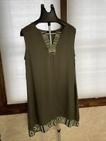 Women's APT.9 Embroidered Tunic Dress Sleeveless Size Large  Army Green Tribal