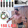 150 LBS Resistance Bands Yoga Exercise Fitness Tube Workout Pilates Bands 11PCS