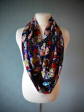 Comic strip infinity scarf, multi coloured loop scarf, cotton summer scarf