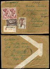 FRENCH CONGO REGISTERED 1949 to BASEL SWISS...COURRIER ORDINAIRE + SELVEDGE SEAL