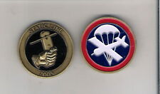 CHALLENGE COIN 82ND AIRBORNE PARA GLIDER STATIC LINE 2005 PARACHUTE AND PLANE IN