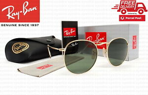 New Ray-Ban RB3447 001 50mm Round Metal Gold Frame Green G-15 Lens