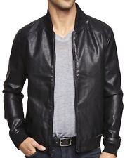 NWT 【M】【$200】 New EXPRESS Black PU Leather Baseball Jacket, Coat, Crackled *LAST