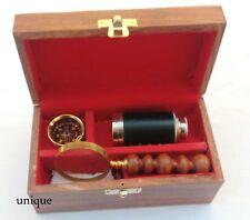 Nautical Replica 3 Set Box W/Chrome Telescope, Compass ,magnifier Antique Gift