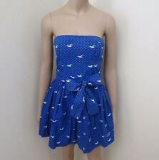 NWT Hollister Womens Polka Dot Seagull Strapless Dress Size Medium Blue Bow