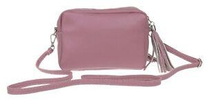 Ladies Plain Tassel Shoulder Bag Genuine Italian Vera Pelle Leather Crossbody