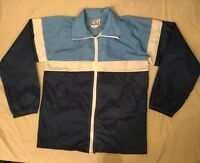 Vtg 80s Winning Ways Blue Color Block Full Zip Nylon Windbreaker Jacket Size M