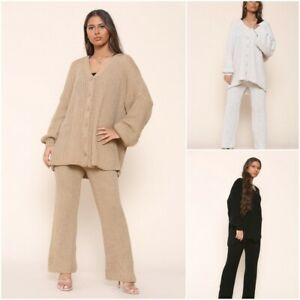 Women's Ladies Chunky Knitted Balloon Sleeve Cardigan Co ord Set LoungeWear Suit