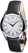 NEW EMPORIO ARMANI CLASSIC WHITE DIAL BLACK LEATHER BAND WOMEN'S WATCH AR2021