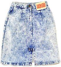 Vintage 80s 90s Denim Jean Skirt 3 ACID Wash Bow High Waist Hipster XS Bongo USA
