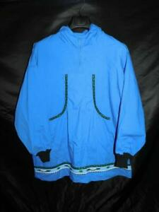 Alaska Native Eskimo Kuspuk 2X Blue Tunic Shirt Jacket Zip Top Hood Cotton