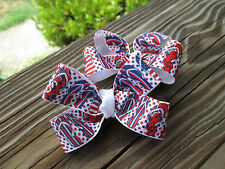 """Hair Bows a pair of Med 2"""" Red, White and Blue Flip Flop Grossgrain Hair Bow USA"""