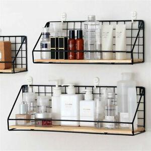 2Pack Vintage Industrial Wall Shelf Metal Wire Wood Rack Storage Display Unit UK