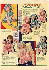 1933 PAPER AD 2 Side COLOR Ideal Tickletoes Honeysuckle Flossie Flirt Doll Dolls