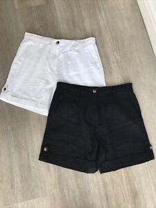 Next Linen Shorts  X 2. Black And White. Size 12. New!