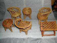 6~LOT Vtg. Miniature PATIO SET~Dollhouse~DINING~Wicker Rattan CHAIRS~TABLES~EVC!