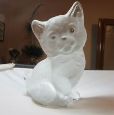 Vintage frosted Viking glass CAT paperweight sculpture