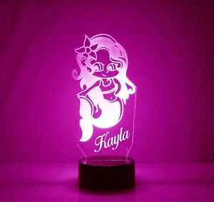 Mermaid Personalized Night Lamp - FREE Engraved Name - Kids Room LED Night Light