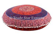 "Large 32"" Round Mandala Cushion With Insert Ottoman Pouf Meditation Throw Pillow"