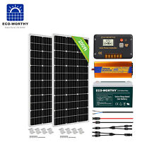 100W 200W Watt 12V Solar Panel Kit Off Grid Inverter 100AH Deep Cycle Battery