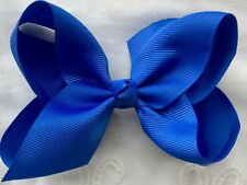"Girls Hair Bow💖 Bright Blue HollyBow 4"" School Dance Hair Bow Clips Accessory"