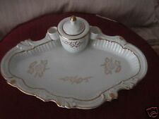 VINTAGE INKWELL TRAY AND QUILL PEN STAND /HOLDER CERAMIC G-1229
