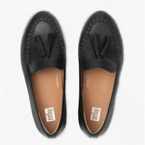 FitFlop PETRINA LIZARD Ladies Stylish Breathable Leather Loafers All Black