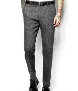 Men's Woolen Pants Pockets Casual Business Trousers Slim Straight Retro Dress